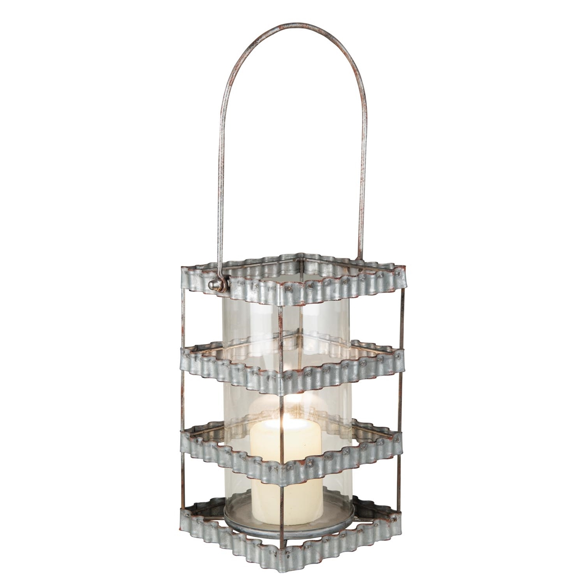 Galvanized Pillar Metal Candle Holder| Plum & Post