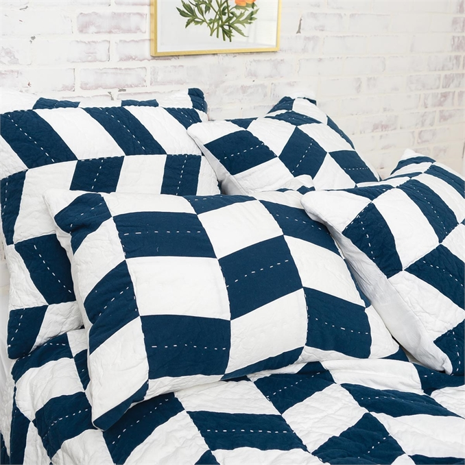 Herringbone Patch Indigo Queen Quilt | Plum & Post
