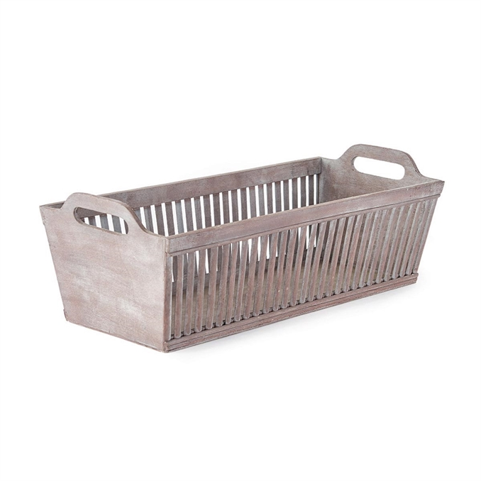 Bamboo Rectangular Basket Graywash | Plum & Post
