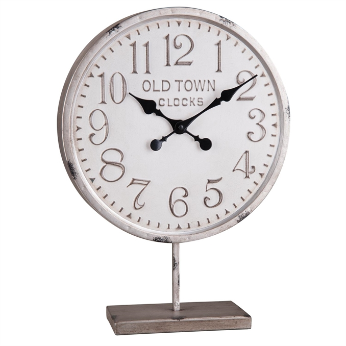 Old Town Round Metal Clock On Stand, White Decorative Clock | Plum & Post