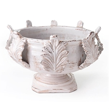 Acanthus Grand Footed Urn, White | Plum & Post