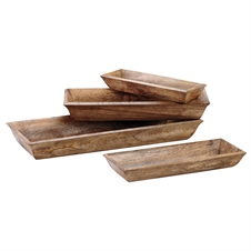 Wooden Lodge Trays, Set of 4 Baskets | Plum & Post