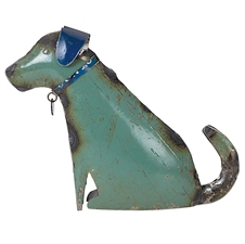 Recycled Dog, Metal Sitting Dog Sculpture | Plum & Post