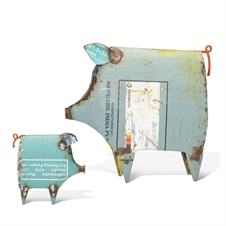 Decorative Recycled Pigs, Set of 2 Swine Sculptures | Plum & Post