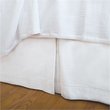 Hemstitch White Queen Bed Skirt | Plum & Post