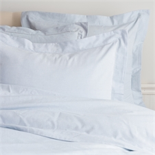 Hemstitch Fog Queen Duvet Cover | Plum & Post