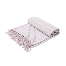 Chenille Stripe Natural Bed Throw | Plum & Post