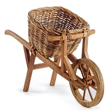 Wooden Wheelbarrow With Rattan Basket | Plum & Post
