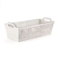 Bamboo Rectangular Basket Whitewash | Plum & Post