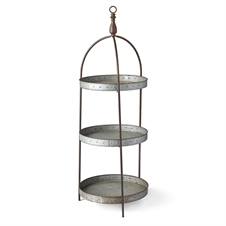 Galvanized Round 3-Tier Display Stand| Plum & Post