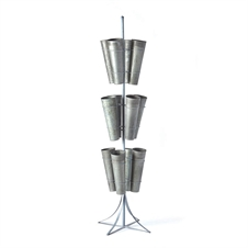 Galvenized 12-Bucket 3-Tier Floral Stand | Plum & Post