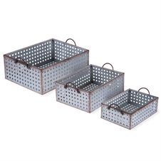Perforated Galvanized Metal Bins, Set of 3 | Plum & Post
