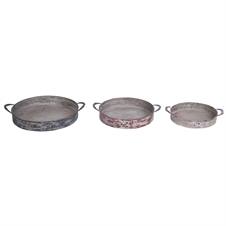 Round Rivet Trays Nested, Set of 3 Decorative Trays | Plum & Post