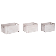 White Galvanized Crates, Set of 3 Decorative Bins | Plum & Post
