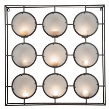 9 Tea Light Metal Holder with Frosted Glass | Plum & Post