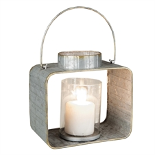 Galvanized Lantern Metal Candle Holder, Small Candle Accessory | Plum & Post