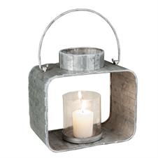Galvanized Lantern Metal Candle Holder, Large Candle Accessory | Plum & Post