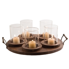 5 Pillar Holder Round Tray With Glass
