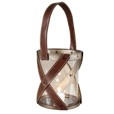 Glass And Leather Lantern, Small Candle Accessories | Plum & Post