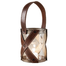 Glass And Leather Lantern, Large Candle Accessories | Plum & Post