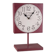 Old Town Square Metal Clock On Stand, Red Decorative Clock | Plum & Post