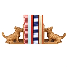 Gold Scottie Metal Dog Bookends, Set of 2 Decorative Accent | Plum & Post