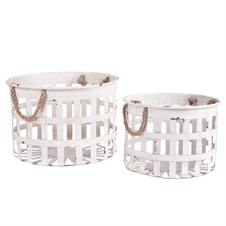 Round Nesting Metal Baskets, Set of 2 Decorative Baskets | Plum & Post