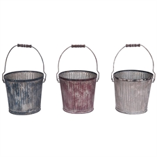 Vintage Corrugated Wash Pails, Set of 3 Decorative Bins | Plum & Post