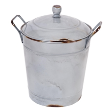 Milky Enamel Bucket With Lid | Plum & Post