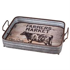 Wood And Galvanized Barn Tray | Plum & Post
