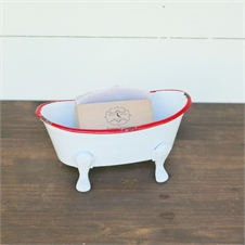 Mini Enamel Bathtub Soap Dish White | Plum & Post