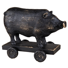 Pig On Wagon, Resin Decorative Figurine | Plum & Post