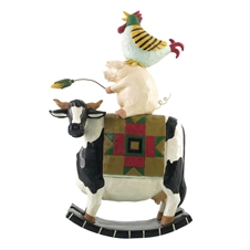 Flocks and Friends - Pig and Rooster Riding Cow Figurine by Williraye | Plum & Post