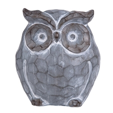 Carved Owl White Wash Finish | Plum & Post