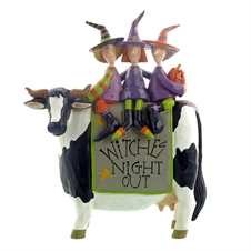 Witches' Night Out - Three Witches Riding a Cow Figurine by Williraye | Plum & Post