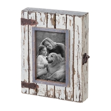 4X6 Rustic Wood Box Photo Frame White