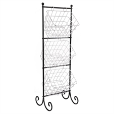 Three Tier Metal Basket Rack with Metal Wire Bins | Plum & Post
