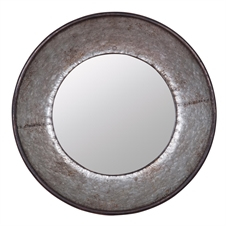 Round Galvanized Mirror, Metal Mirror | Plum & Post