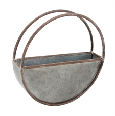 """Round Metal Flower Pot, Small Planter 