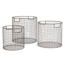 Paris Round Wire Baskets, Set of Three Black | Plum & Post