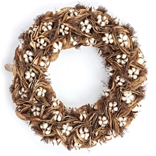 "Southern Cotton 24"" Wreath 
