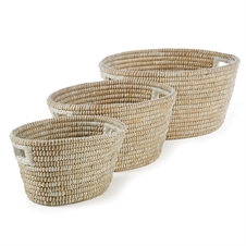 Rivergrass Oval Baskets With Handles, Set of Three | Plum & Post