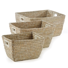 Rivergrass Rectangle Baskets With Handles, Set of Three | Plum & Post