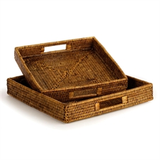 Burma Rattan Square Table Trays, Set of Two | Plum & Post