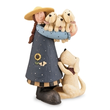 Woman Holding Puppies Figurine | Plum & Post